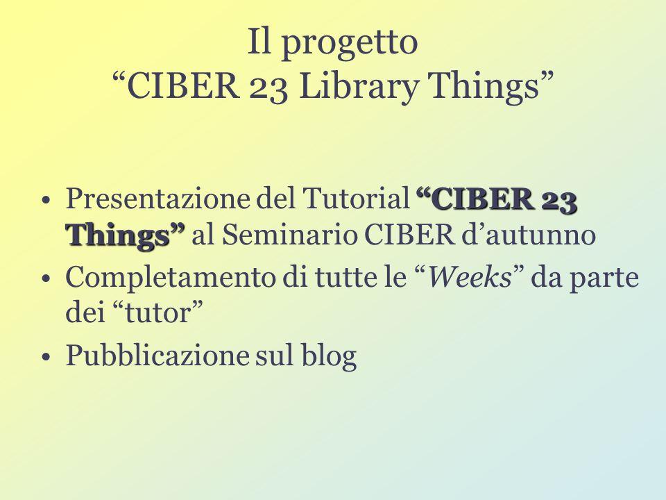 Il progetto CIBER 23 Library Things CIBER 23 ThingsPresentazione del Tutorial CIBER 23 Things al Seminario CIBER dautunno Completamento di tutte le Weeks da parte dei tutor Pubblicazione sul blog