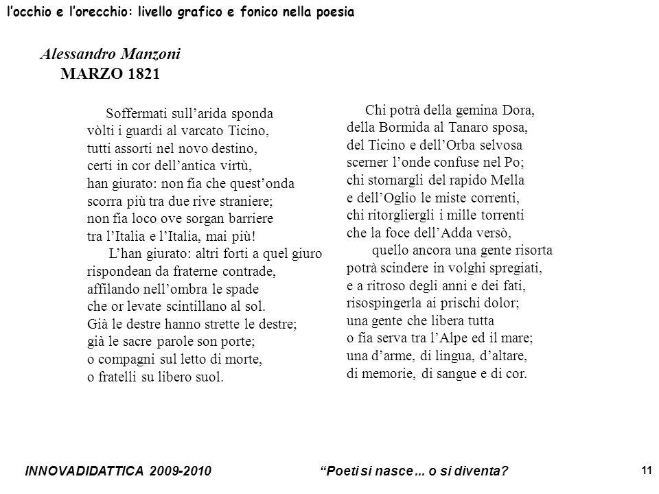 INNOVADIDATTICA 2009-2010 Poeti si nasce... o si diventa? 11 locchio e lorecchio: livello grafico e fonico nella poesia Alessandro Manzoni MARZO 1821