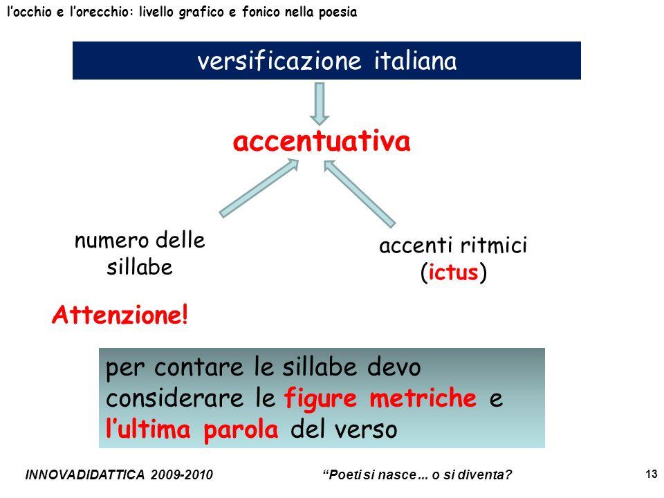 INNOVADIDATTICA 2009-2010 Poeti si nasce... o si diventa? 13 versificazione italiana locchio e lorecchio: livello grafico e fonico nella poesia accent