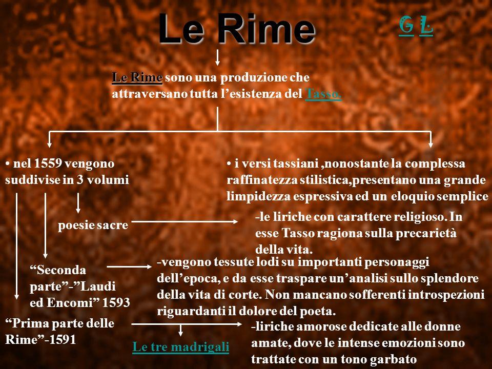 Le Rime Le Rime sono una produzione che attraversano tutta lesistenza del Tasso. nel 1559 vengono suddivise in 3 volumi Prima parte delle Rime-1591 Se