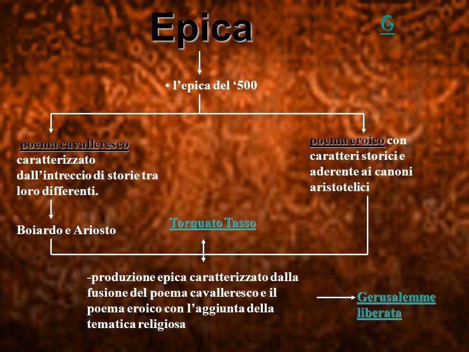 Epica l epica del 500 p pp poema cavalleresco caratterizzato dall intreccio di storie tra loro differenti. poema eroico con caratteri storici e aderen