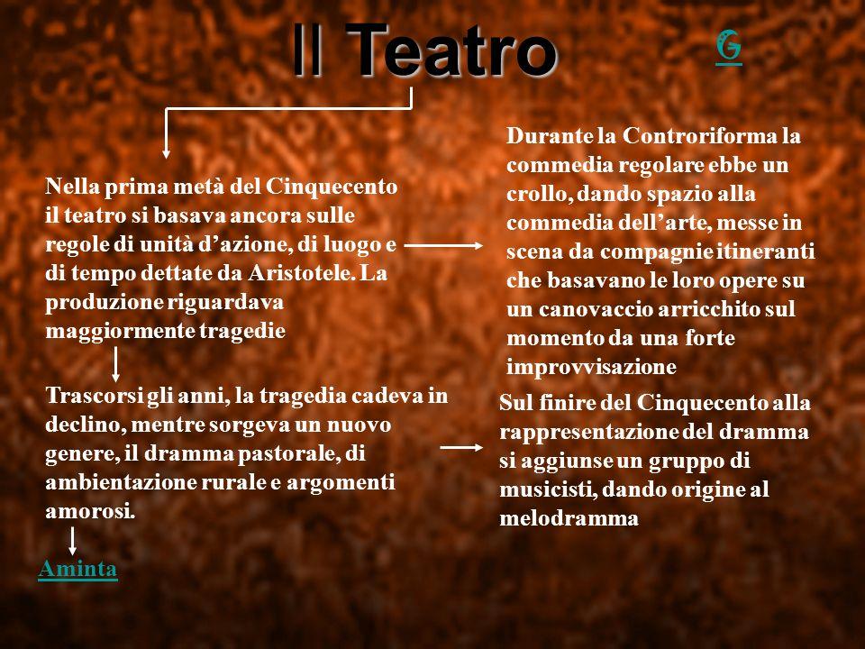 Il Teatro Nella prima metà del Cinquecento il teatro si basava ancora sulle regole di unità dazione, di luogo e di tempo dettate da Aristotele. La pro