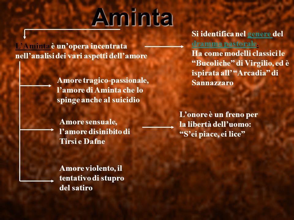 Aminta LAminta è unopera incentrata nellanalisi dei vari aspetti dellamore Si identifica nel genere del dramma pastorale. Ha come modelli classici le