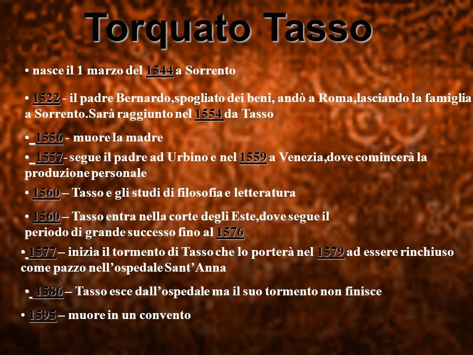 Torquato Tasso nasce il 1 marzo del 1 11 1544 a Sorrento 1522 - il padre Bernardo,spogliato dei beni, andò a Roma,lasciando la famiglia a Sorrento.Sar