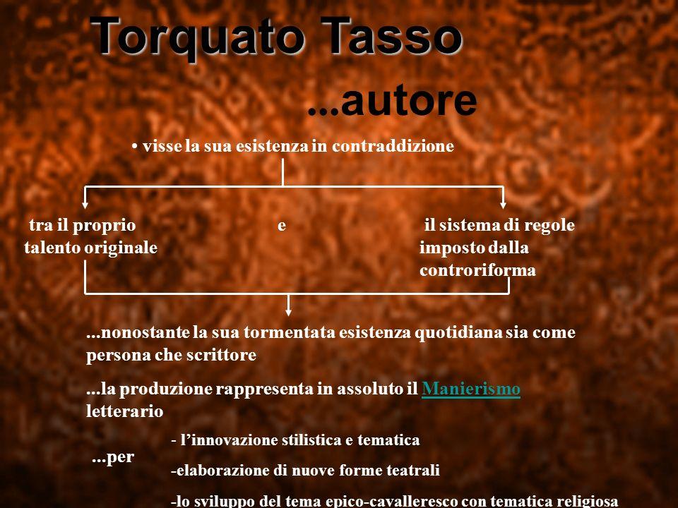 Torquato Tasso Torquato Tasso... autore visse la sua esistenza in contraddizione tra il proprio talento originale e il sistema di regole imposto dalla