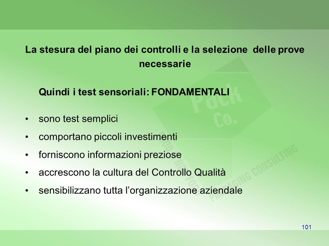 101 La stesura del piano dei controlli e la selezione delle prove necessarie Quindi i test sensoriali: FONDAMENTALI sono test semplici comportano picc
