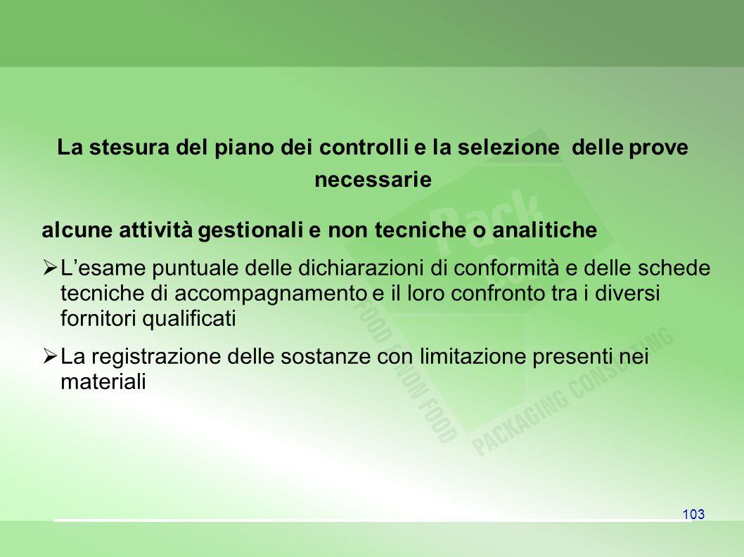 103 La stesura del piano dei controlli e la selezione delle prove necessarie alcune attività gestionali e non tecniche o analitiche Lesame puntuale de