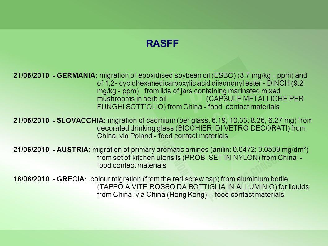 RASFF 21/06/2010 - GERMANIA: migration of epoxidised soybean oil (ESBO) (3.7 mg/kg - ppm) and of 1,2- cyclohexanedicarboxylic acid diisononyl ester -