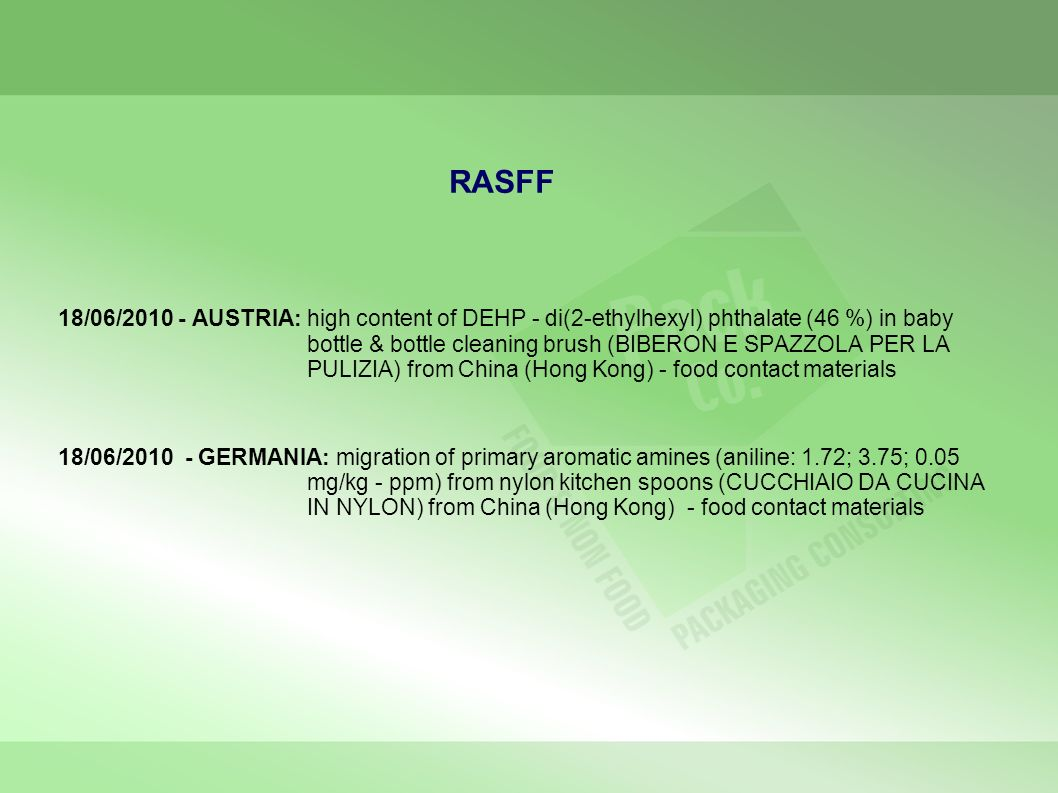 RASFF 18/06/2010 - AUSTRIA: high content of DEHP - di(2-ethylhexyl) phthalate (46 %) in baby bottle & bottle cleaning brush (BIBERON E SPAZZOLA PER LA
