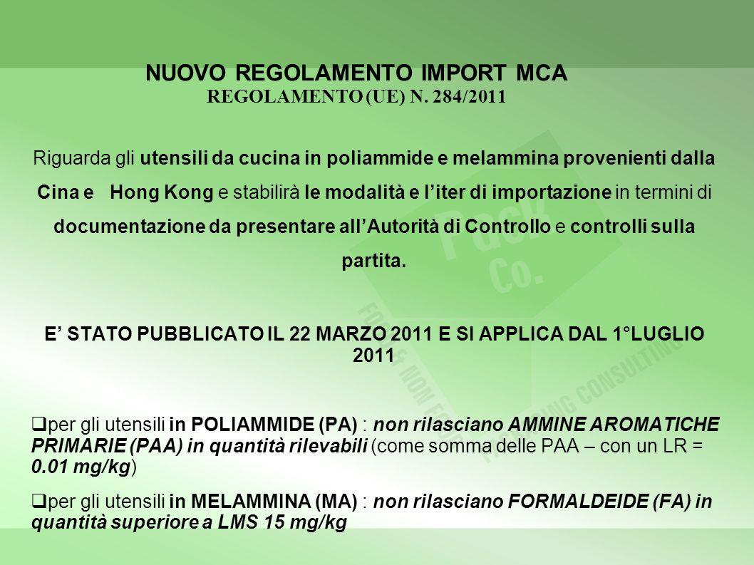 NUOVO REGOLAMENTO IMPORT MCA REGOLAMENTO (UE) N. 284/2011 Riguarda gli utensili da cucina in poliammide e melammina provenienti dalla Cina e Hong Kong