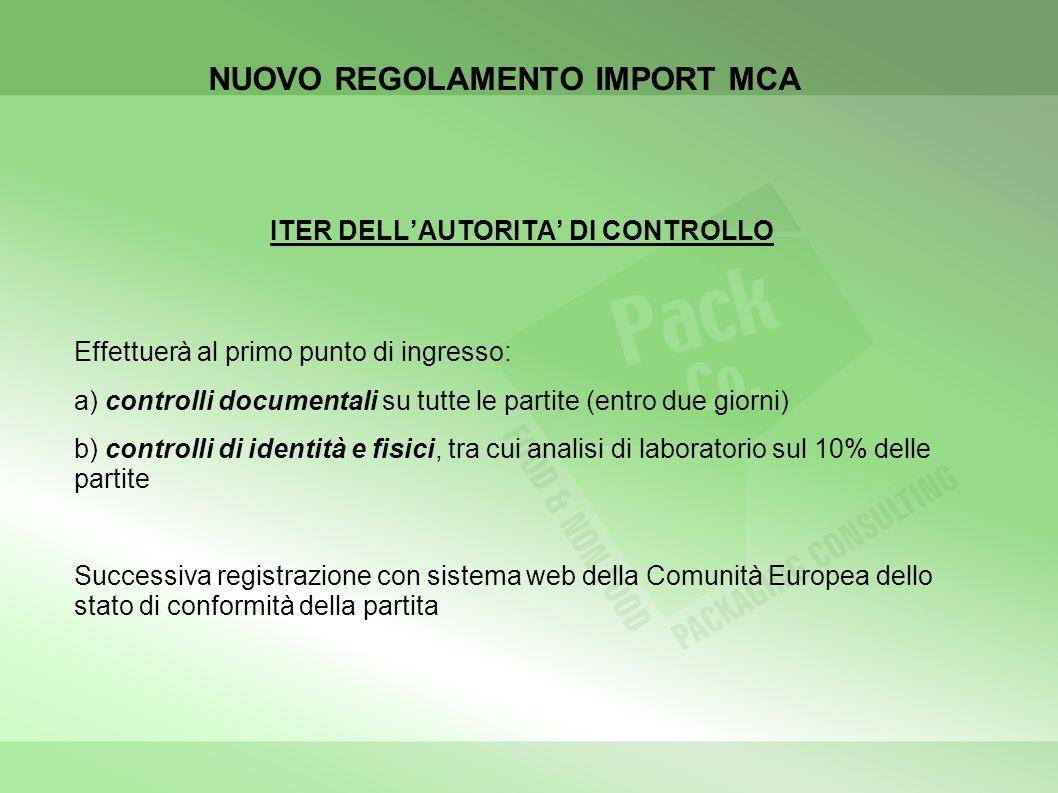 NUOVO REGOLAMENTO IMPORT MCA ITER DELLAUTORITA DI CONTROLLO Effettuerà al primo punto di ingresso: a) controlli documentali su tutte le partite (entro