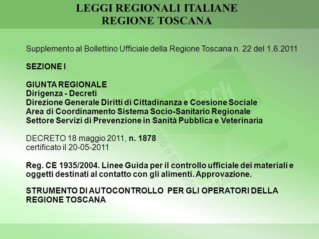 LEGGI REGIONALI ITALIANE REGIONE TOSCANA Supplemento al Bollettino Ufficiale della Regione Toscana n. 22 del 1.6.2011 SEZIONE I GIUNTA REGIONALE Dirig