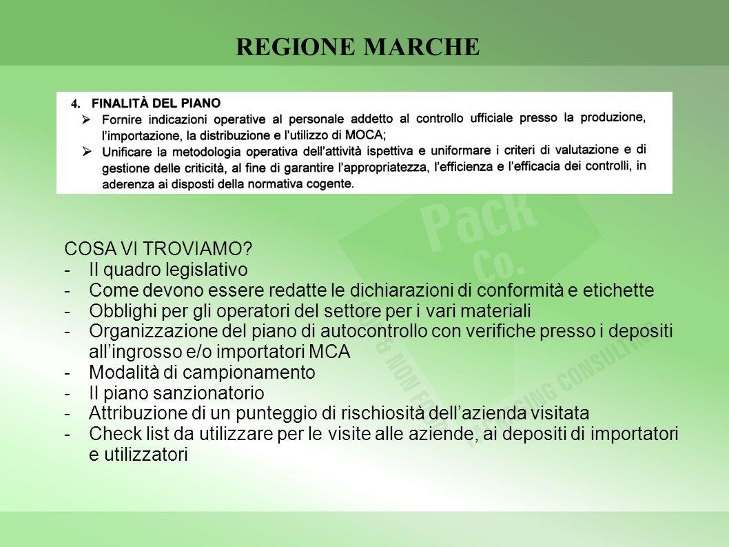 REGIONE MARCHE COSA VI TROVIAMO? -Il quadro legislativo -Come devono essere redatte le dichiarazioni di conformità e etichette -Obblighi per gli opera