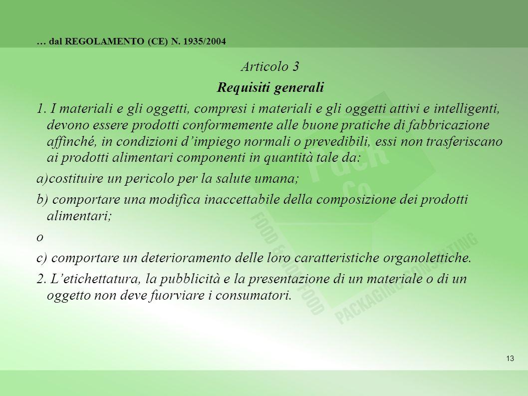 13 … dal REGOLAMENTO (CE) N. 1935/2004 Articolo 3 Requisiti generali 1. I materiali e gli oggetti, compresi i materiali e gli oggetti attivi e intelli