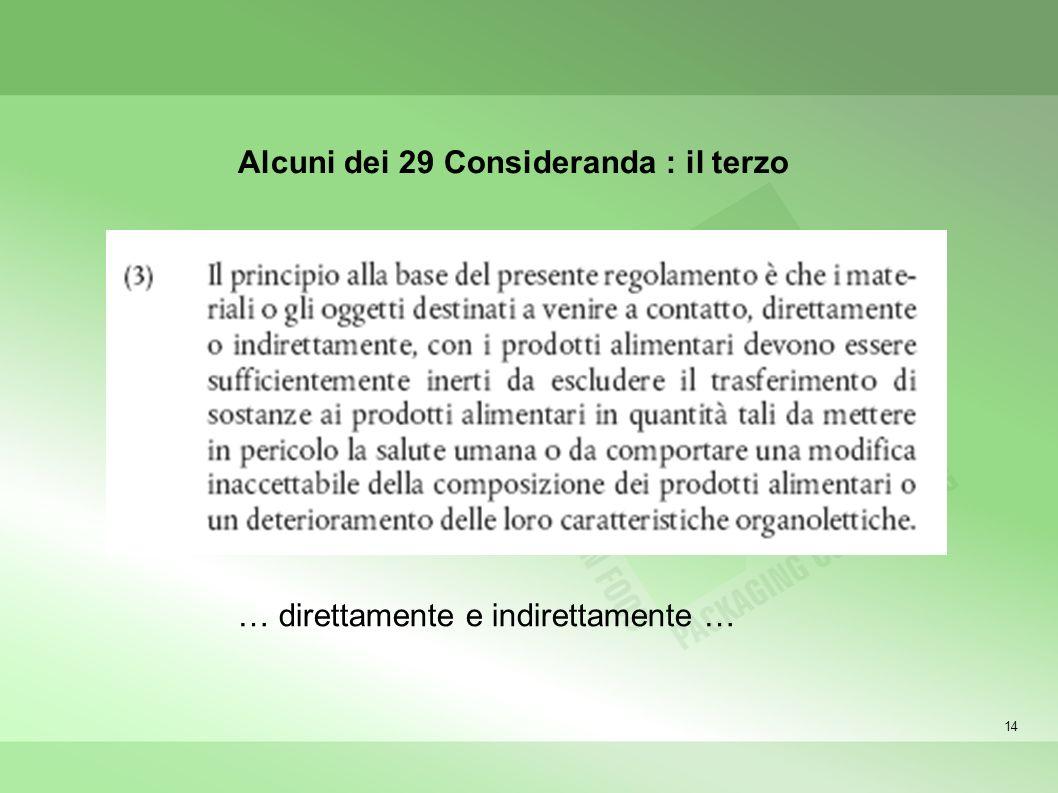 14 Alcuni dei 29 Consideranda : il terzo … direttamente e indirettamente …