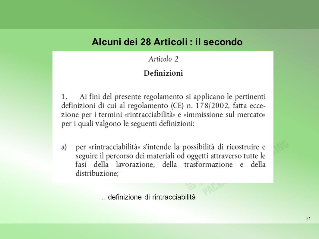 21 Alcuni dei 28 Articoli : il secondo.. definizione di rintracciabilità
