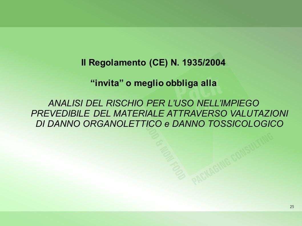 25 Il Regolamento (CE) N. 1935/2004 invita o meglio obbliga alla ANALISI DEL RISCHIO PER LUSO NELLIMPIEGO PREVEDIBILE DEL MATERIALE ATTRAVERSO VALUTAZ