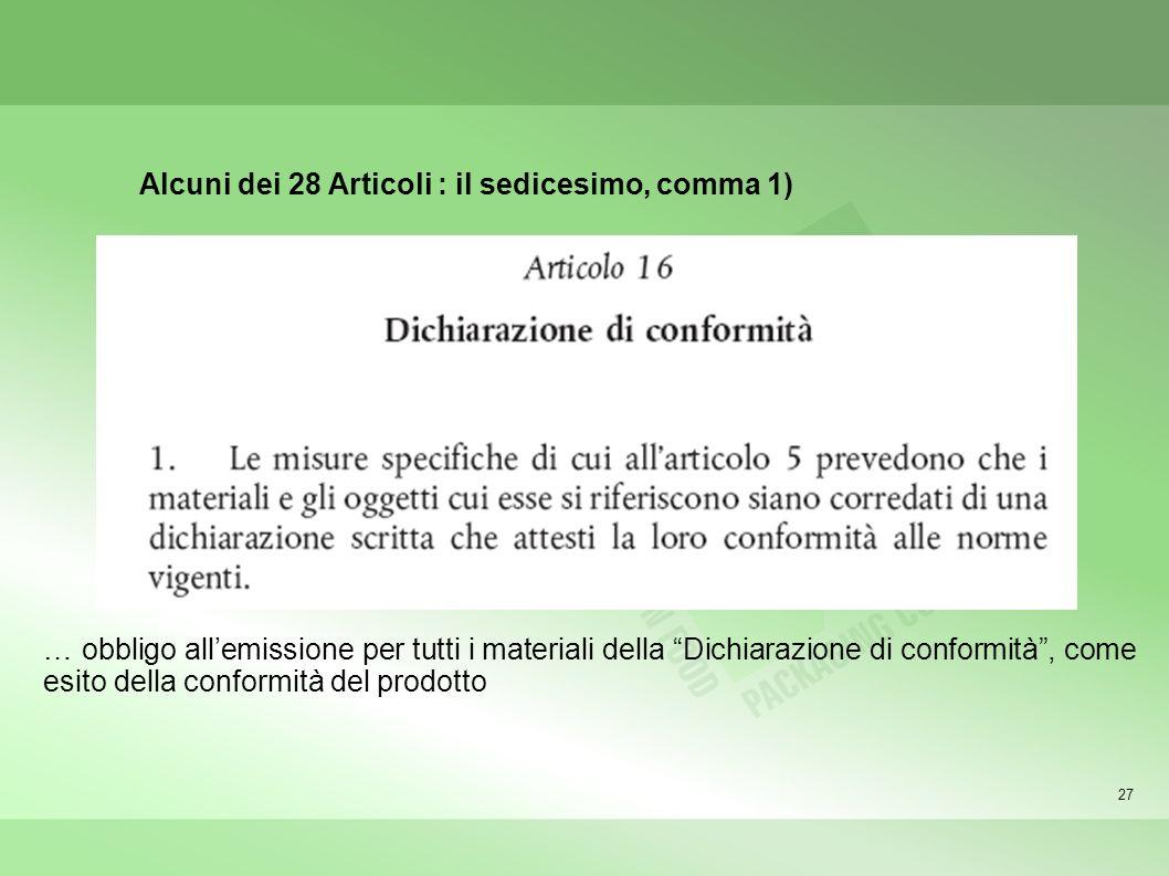 27 … obbligo allemissione per tutti i materiali della Dichiarazione di conformità, come esito della conformità del prodotto Alcuni dei 28 Articoli : il sedicesimo, comma 1)