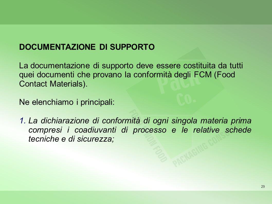 29 DOCUMENTAZIONE DI SUPPORTO La documentazione di supporto deve essere costituita da tutti quei documenti che provano la conformità degli FCM (Food Contact Materials).