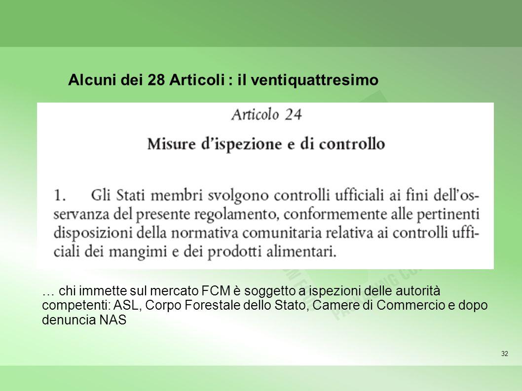 32 Alcuni dei 28 Articoli : il ventiquattresimo … chi immette sul mercato FCM è soggetto a ispezioni delle autorità competenti: ASL, Corpo Forestale dello Stato, Camere di Commercio e dopo denuncia NAS