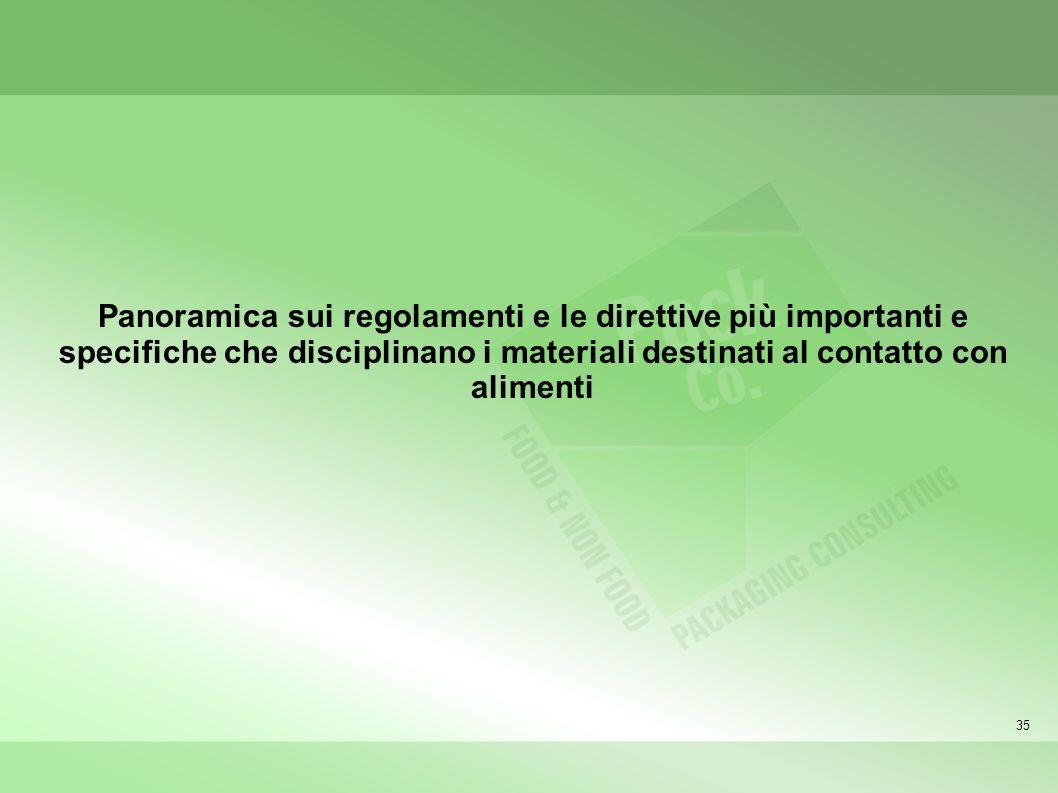 35 Panoramica sui regolamenti e le direttive più importanti e specifiche che disciplinano i materiali destinati al contatto con alimenti