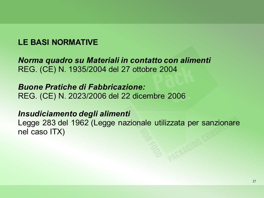 37 LE BASI NORMATIVE Norma quadro su Materiali in contatto con alimenti REG. (CE) N. 1935/2004 del 27 ottobre 2004 Buone Pratiche di Fabbricazione: RE
