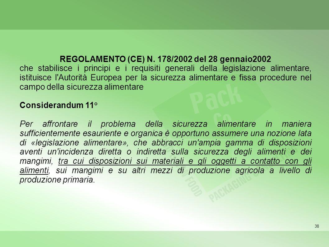 38 REGOLAMENTO (CE) N. 178/2002 del 28 gennaio2002 che stabilisce i principi e i requisiti generali della legislazione alimentare, istituisce l'Autori