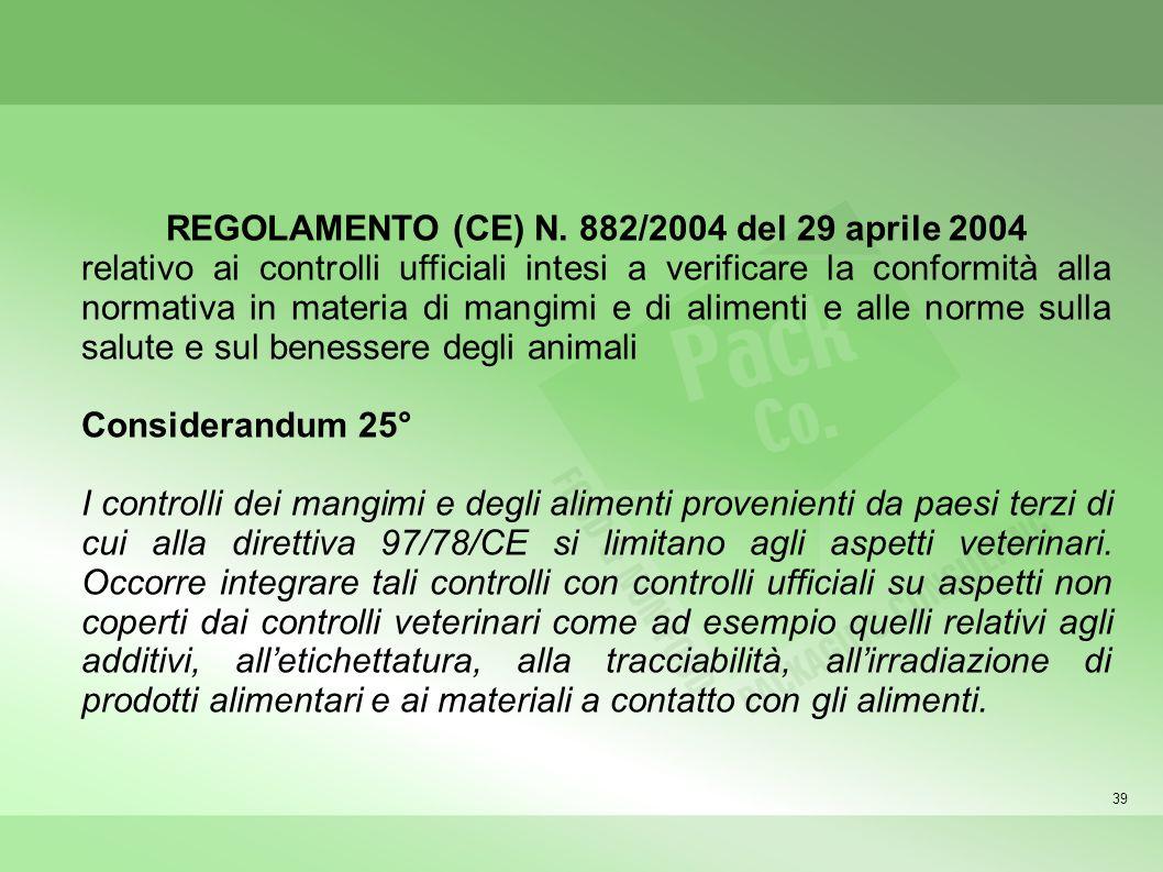 39 REGOLAMENTO (CE) N. 882/2004 del 29 aprile 2004 relativo ai controlli ufficiali intesi a verificare la conformità alla normativa in materia di mang