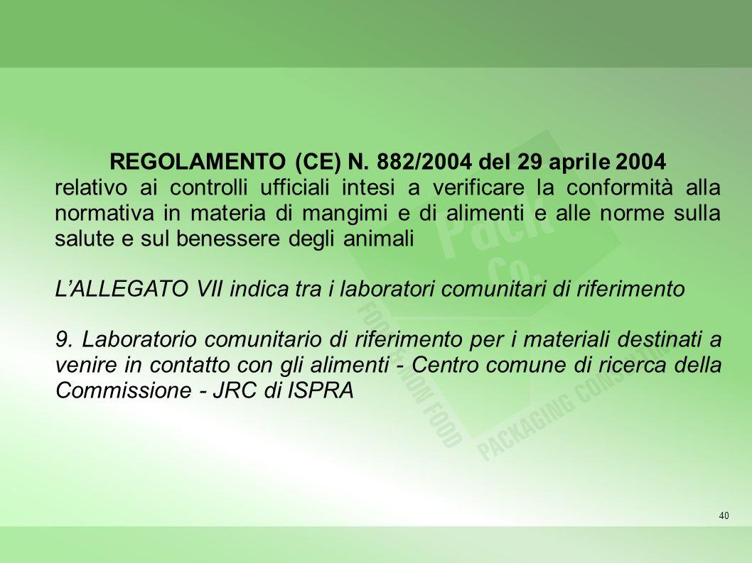 40 REGOLAMENTO (CE) N. 882/2004 del 29 aprile 2004 relativo ai controlli ufficiali intesi a verificare la conformità alla normativa in materia di mang