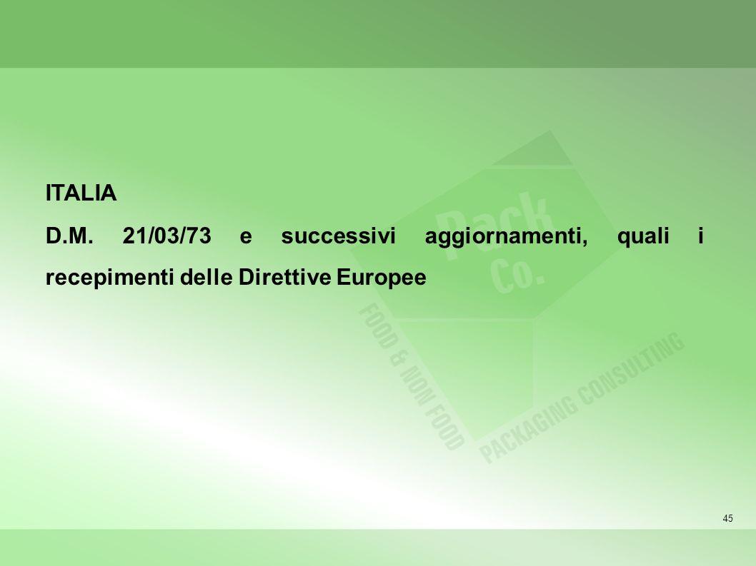 45 ITALIA D.M. 21/03/73 e successivi aggiornamenti, quali i recepimenti delle Direttive Europee