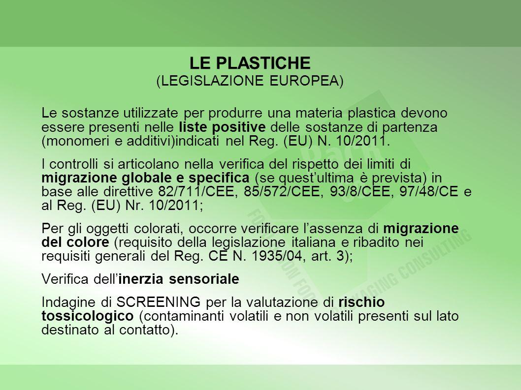 LE PLASTICHE (LEGISLAZIONE EUROPEA) Le sostanze utilizzate per produrre una materia plastica devono essere presenti nelle liste positive delle sostanz