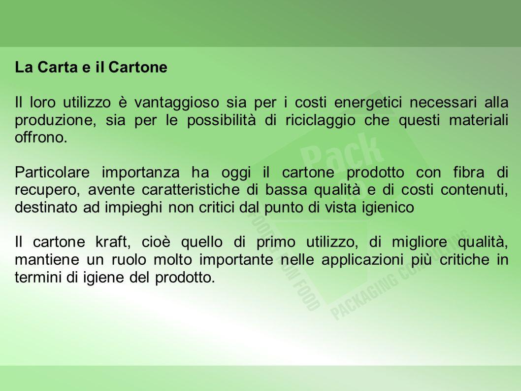 La Carta e il Cartone Il loro utilizzo è vantaggioso sia per i costi energetici necessari alla produzione, sia per le possibilità di riciclaggio che questi materiali offrono.