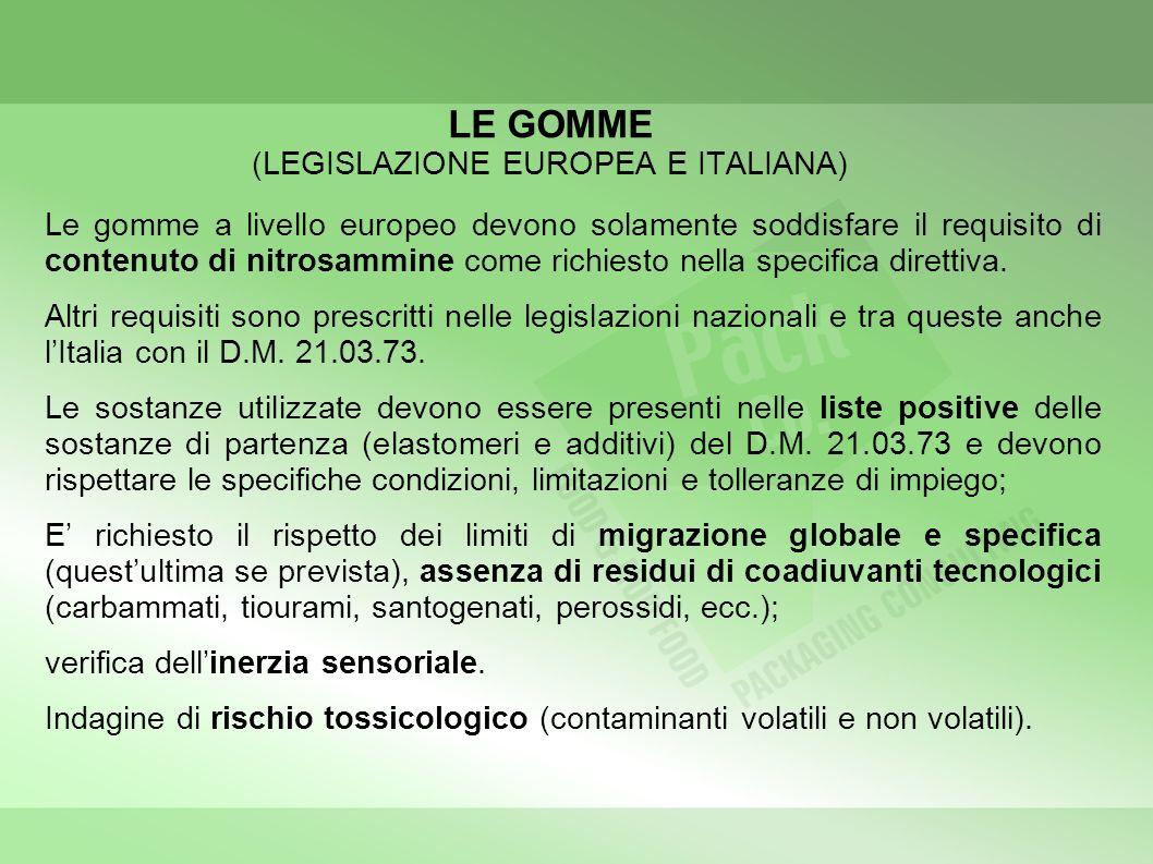 LE GOMME (LEGISLAZIONE EUROPEA E ITALIANA) Le gomme a livello europeo devono solamente soddisfare il requisito di contenuto di nitrosammine come richiesto nella specifica direttiva.