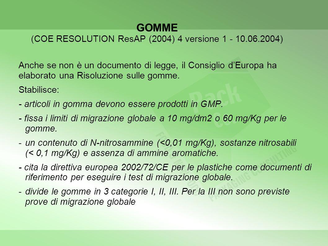 GOMME (COE RESOLUTION ResAP (2004) 4 versione 1 - 10.06.2004) Anche se non è un documento di legge, il Consiglio dEuropa ha elaborato una Risoluzione sulle gomme.