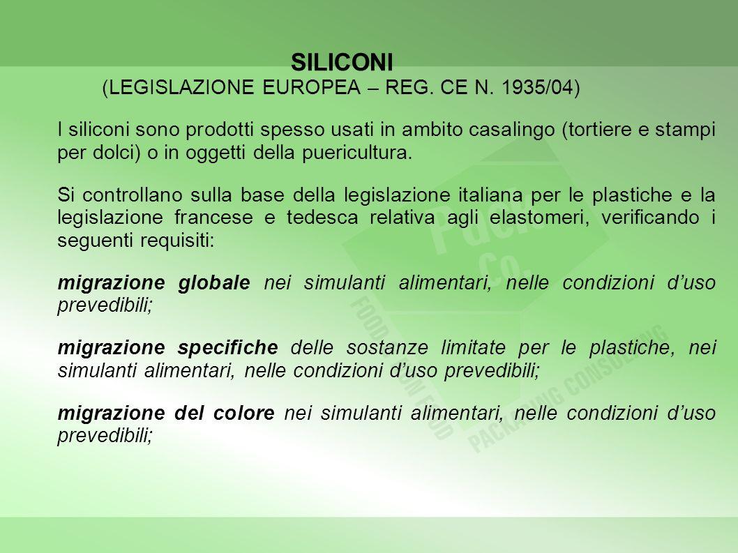 SILICONI (LEGISLAZIONE EUROPEA – REG. CE N. 1935/04) I siliconi sono prodotti spesso usati in ambito casalingo (tortiere e stampi per dolci) o in ogge