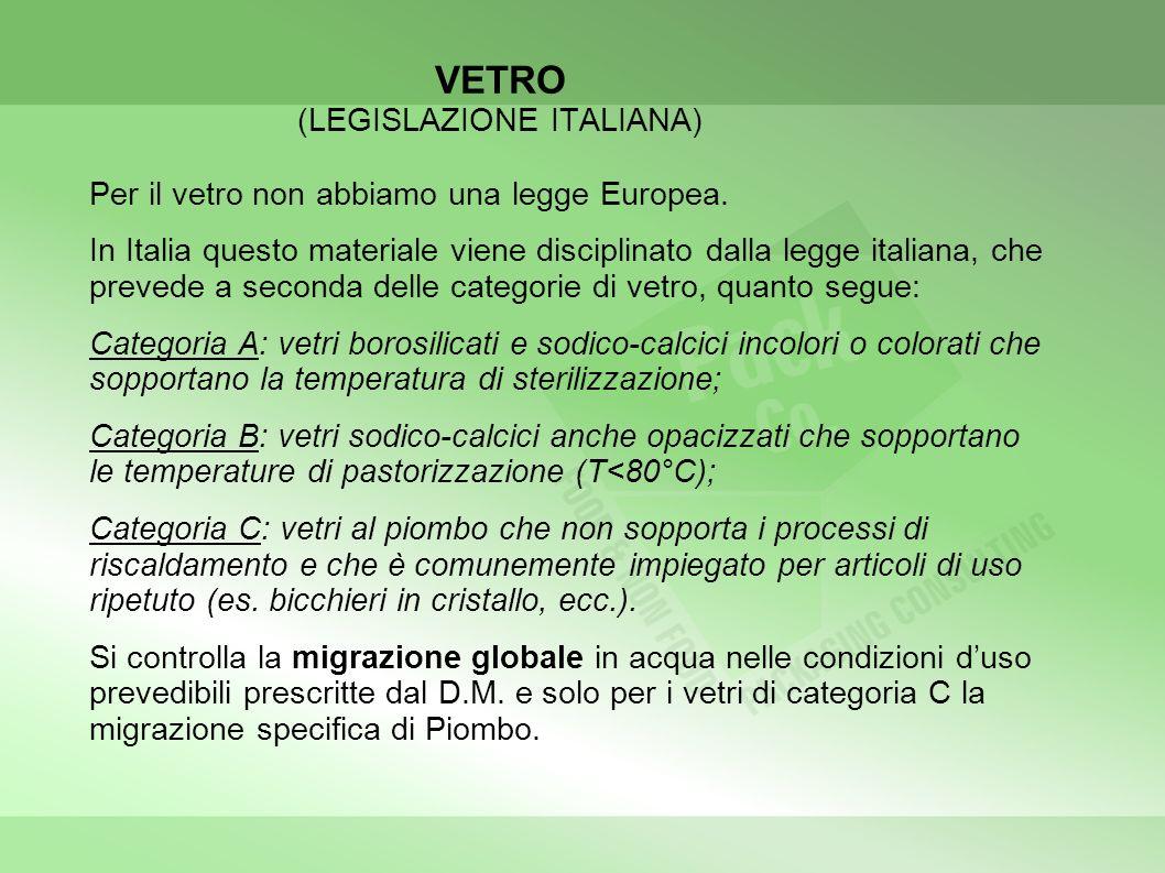 VETRO (LEGISLAZIONE ITALIANA) Per il vetro non abbiamo una legge Europea. In Italia questo materiale viene disciplinato dalla legge italiana, che prev