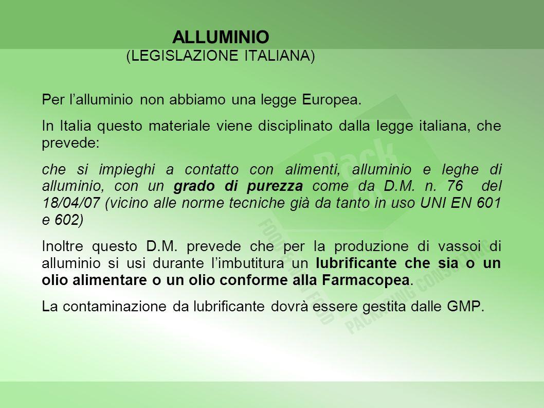 ALLUMINIO (LEGISLAZIONE ITALIANA) Per lalluminio non abbiamo una legge Europea. In Italia questo materiale viene disciplinato dalla legge italiana, ch