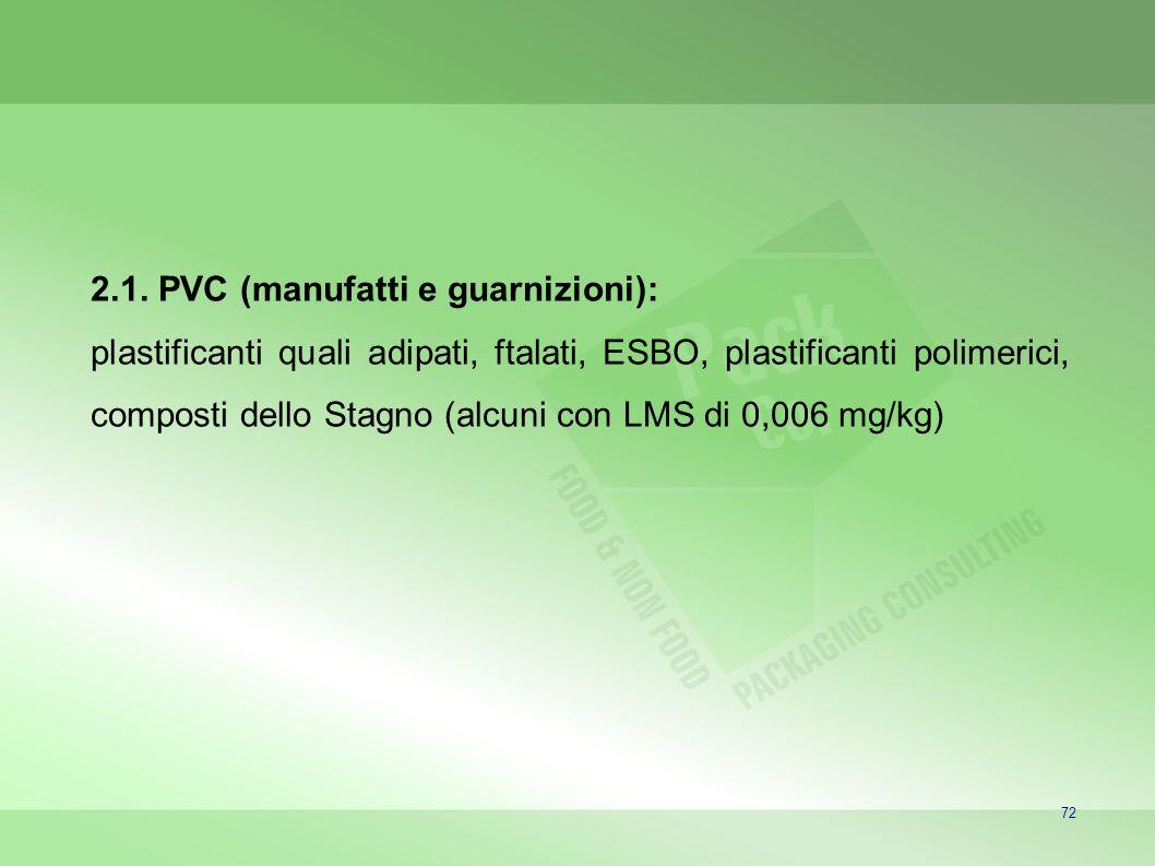 72 2.1. PVC (manufatti e guarnizioni): plastificanti quali adipati, ftalati, ESBO, plastificanti polimerici, composti dello Stagno (alcuni con LMS di