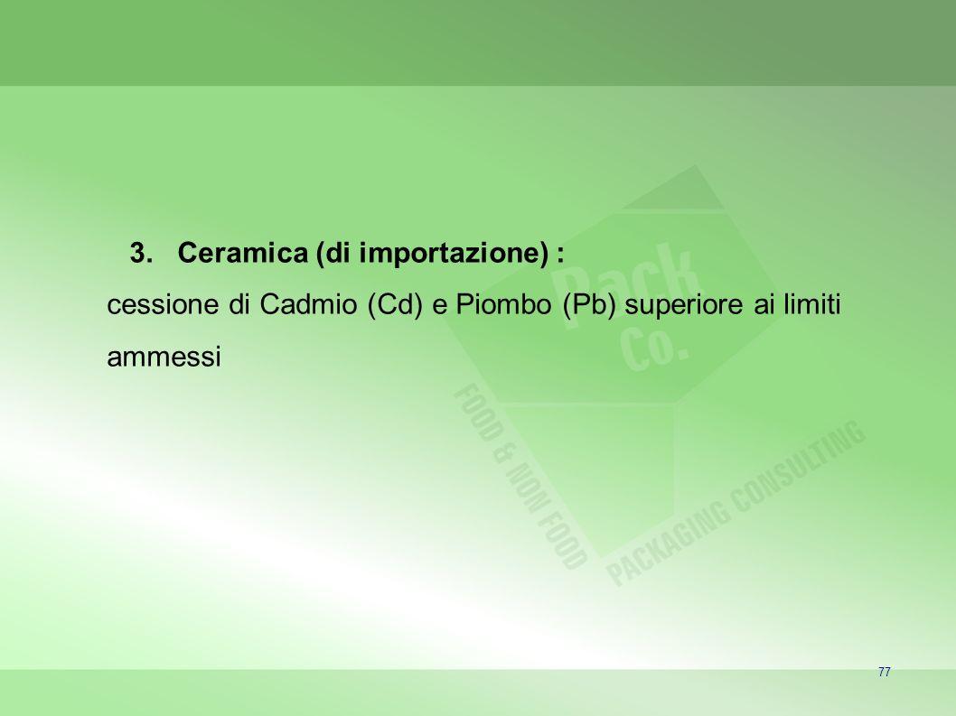 77 3.Ceramica (di importazione) : cessione di Cadmio (Cd) e Piombo (Pb) superiore ai limiti ammessi