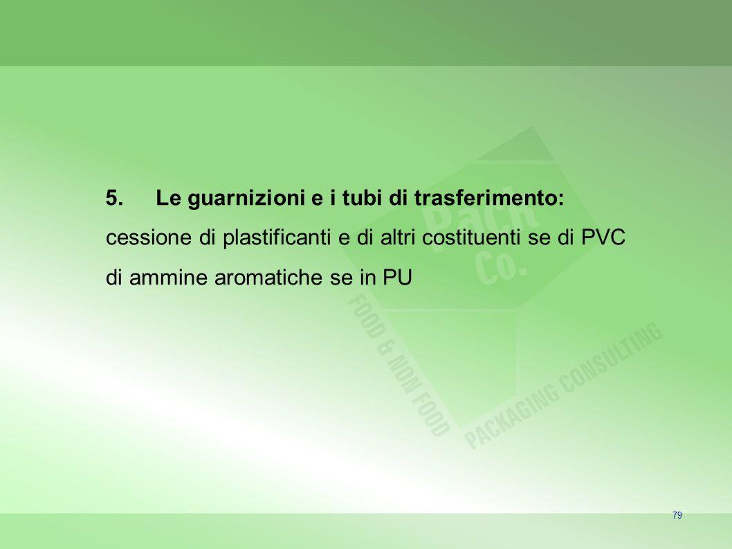 79 5.Le guarnizioni e i tubi di trasferimento: cessione di plastificanti e di altri costituenti se di PVC di ammine aromatiche se in PU