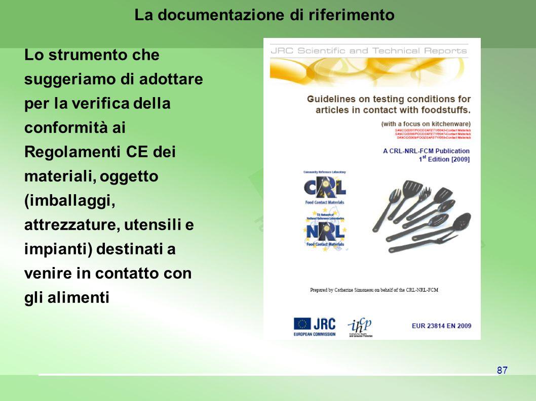 87 La documentazione di riferimento Lo strumento che suggeriamo di adottare per la verifica della conformità ai Regolamenti CE dei materiali, oggetto (imballaggi, attrezzature, utensili e impianti) destinati a venire in contatto con gli alimenti