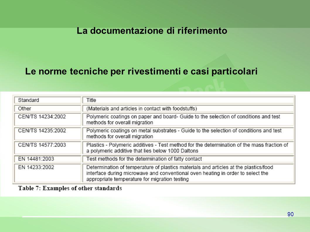 90 Le norme tecniche per rivestimenti e casi particolari La documentazione di riferimento