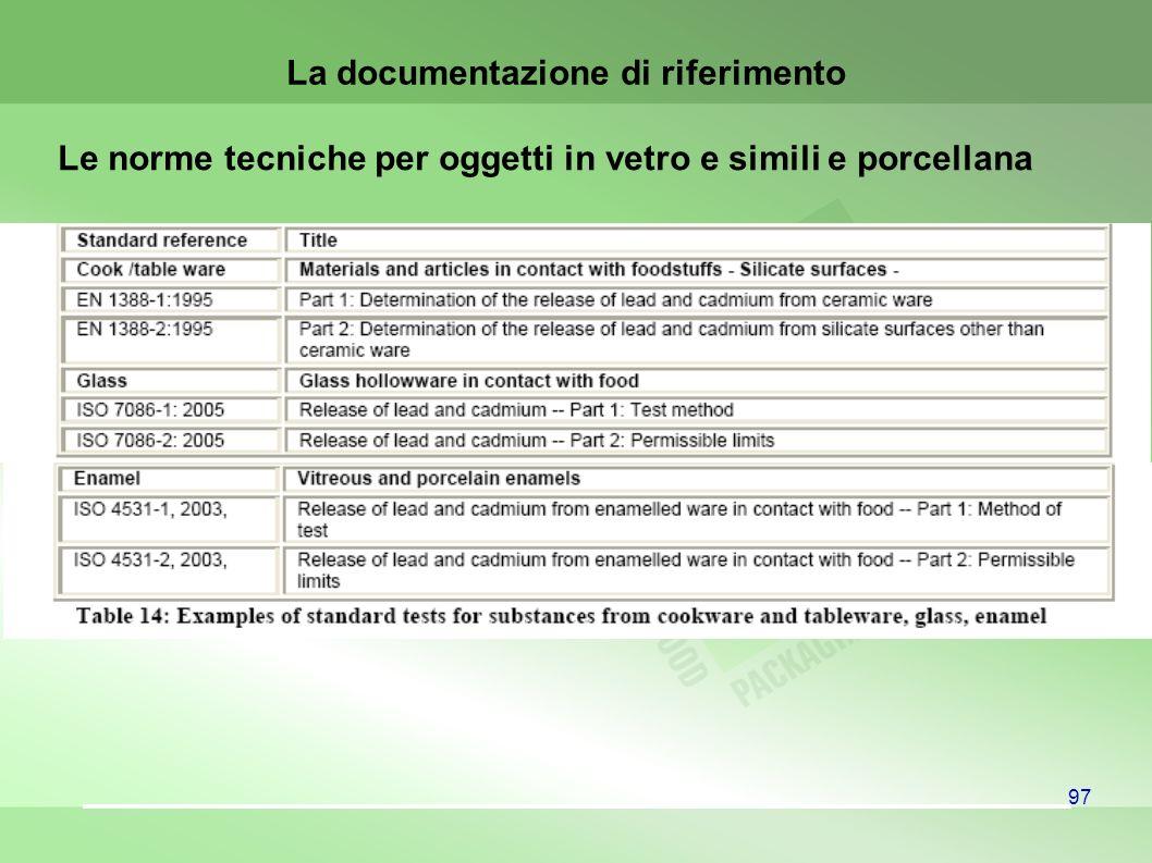 97 Le norme tecniche per oggetti in vetro e simili e porcellana La documentazione di riferimento