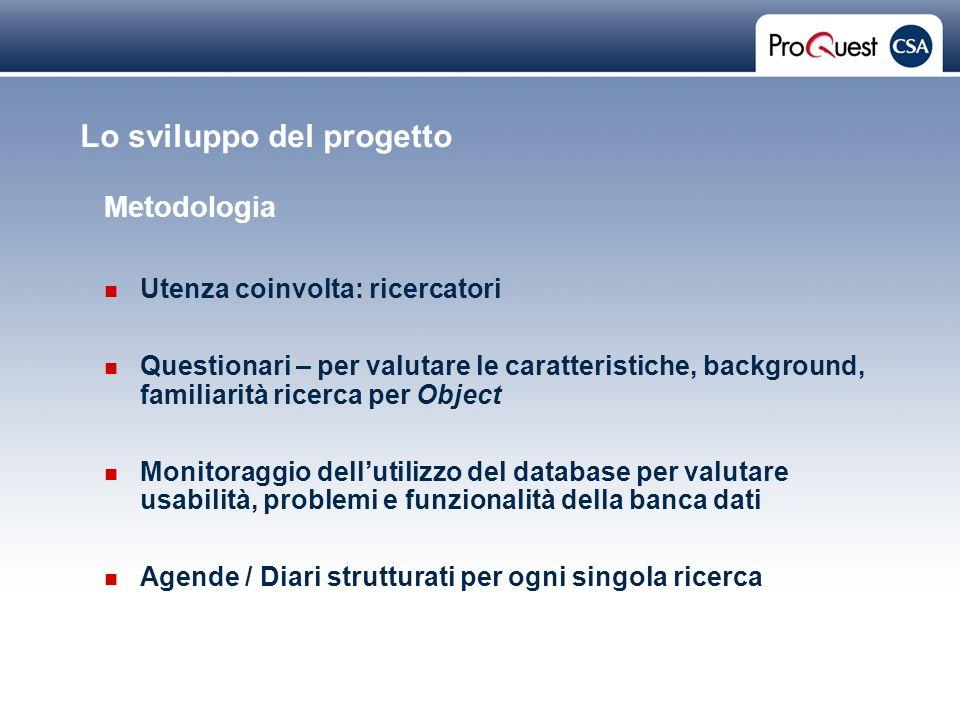 Proprietary and Confidential ProQuest Information & Learning Lo sviluppo del progetto Metodologia Utenza coinvolta: ricercatori Questionari – per valu