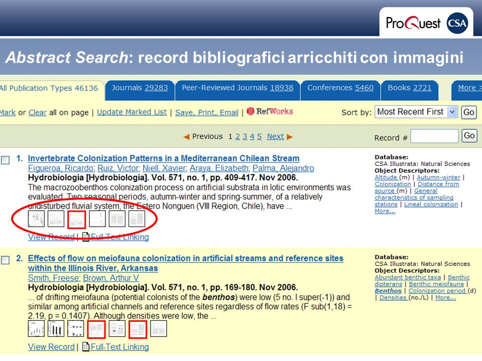 Proprietary and Confidential ProQuest Information & Learning Abstract Search: record bibliografici arricchiti con immagini