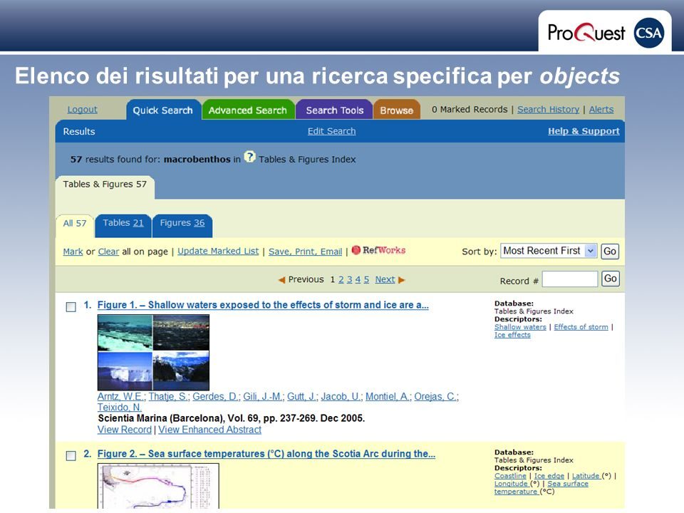 Proprietary and Confidential ProQuest Information & Learning Elenco dei risultati per una ricerca specifica per objects