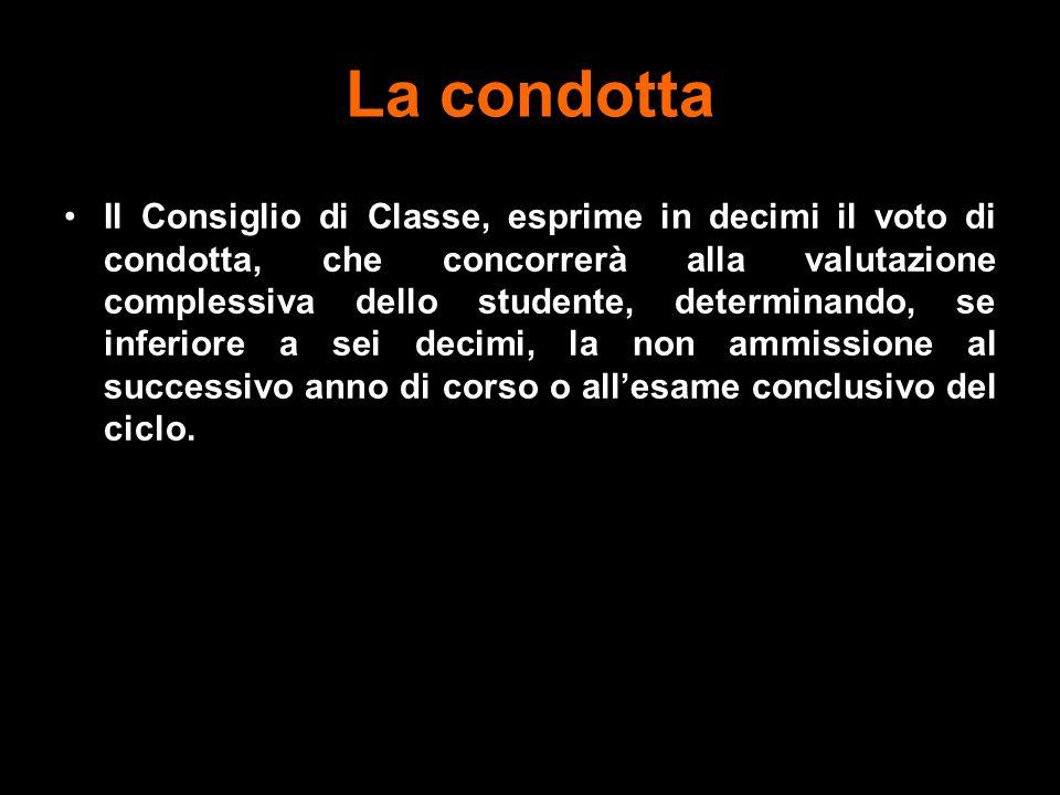 La condotta Il Consiglio di Classe, esprime in decimi il voto di condotta, che concorrerà alla valutazione complessiva dello studente, determinando, s