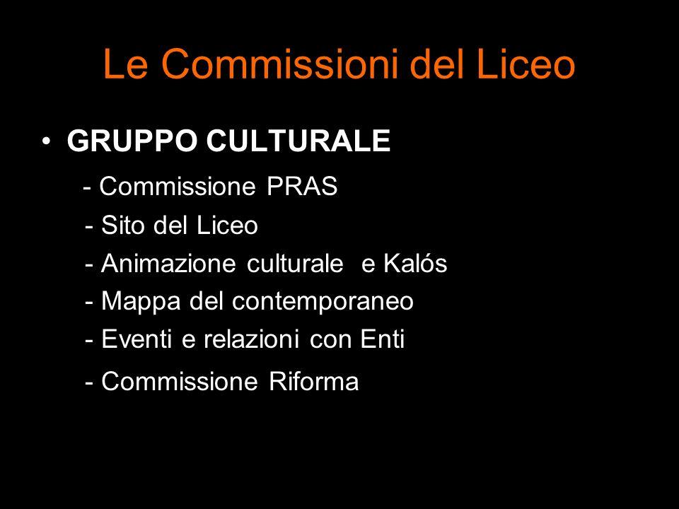 Le Commissioni del Liceo GRUPPO CULTURALE - Commissione PRAS - Sito del Liceo - Animazione culturale e Kalós - Mappa del contemporaneo - Eventi e rela