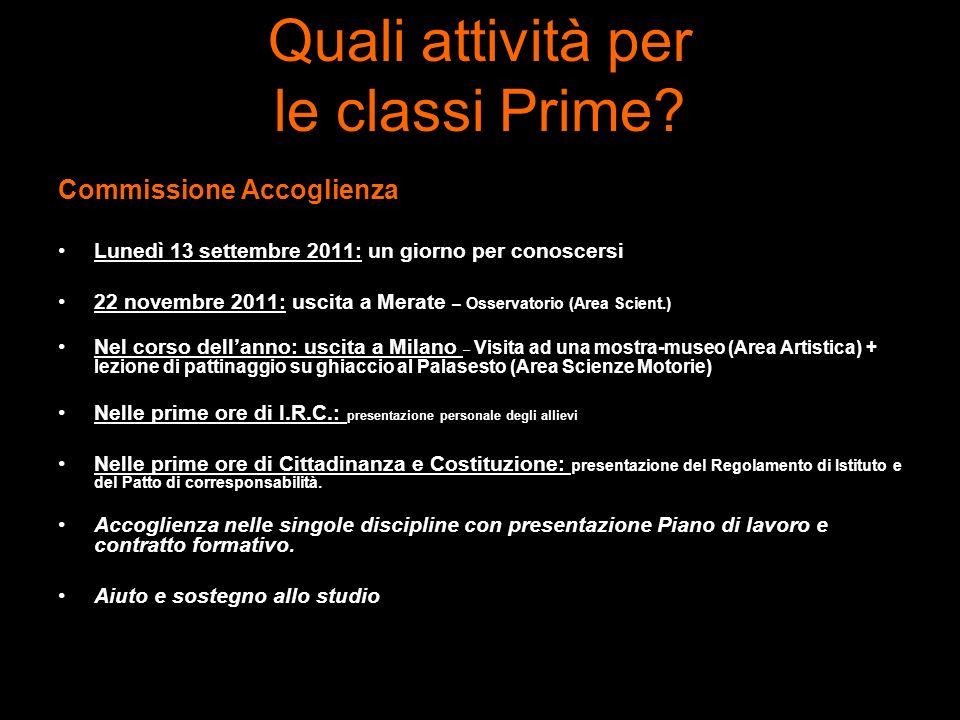 Quali attività per le classi Prime? Commissione Accoglienza Lunedì 13 settembre 2011: un giorno per conoscersi 22 novembre 2011: uscita a Merate – Oss