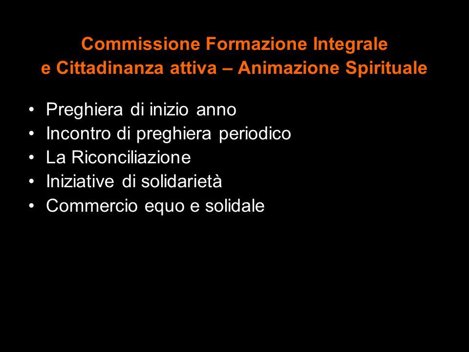 Commissione Formazione Integrale e Cittadinanza attiva – Animazione Spirituale Preghiera di inizio anno Incontro di preghiera periodico La Riconciliaz